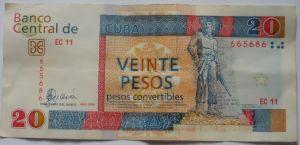 Nota de 20 CUCs, a moeda dos estrangeiros em Cuba
